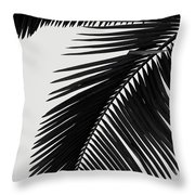 Palm Leaves Bw Throw Pillow
