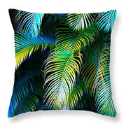 Palm Leaves In Blue Throw Pillow