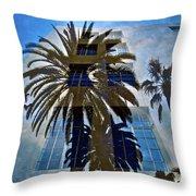 Palm Mural Throw Pillow