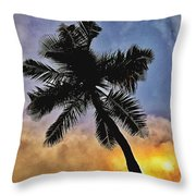 Palm On The Beach Throw Pillow