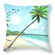 Palm Over Diani Beach Throw Pillow