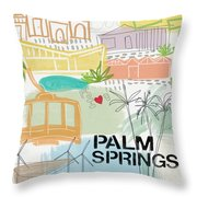 Palm Springs Cityscape- Art By Linda Woods Throw Pillow by Linda Woods