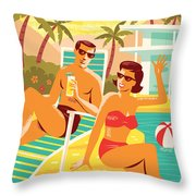 Palm Springs Poster - Retro Travel Throw Pillow