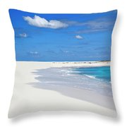 Palm Tree And Sandy Beach Throw Pillow
