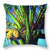 Palm Tree At Sunset Throw Pillow