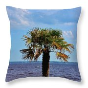 Palm Tree By The Lake Throw Pillow