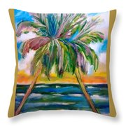 Palm Tree Color Times Two Throw Pillow