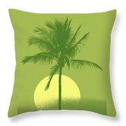 Palm Tree Green Sun Setting Throw Pillow