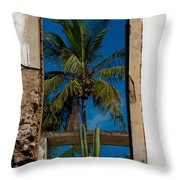 Palm Tree In The Window Throw Pillow