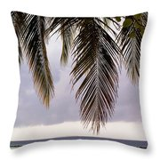 Palm Tree Leaves At The Beach Throw Pillow