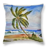 Palm Tree Ocean Scene Throw Pillow