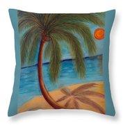 Palm Tree On The Beach Throw Pillow