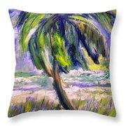 Palm Tree On Windy Beach Throw Pillow