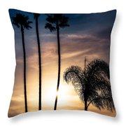 Palm Tree Sunset Silhouette Throw Pillow