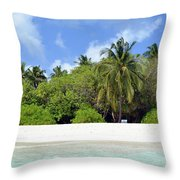 Palm Trees And Exotic Vegetation On The Beach Of An Island In Maldives Throw Pillow