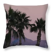 Palm Trees And Mountains At Sunset #1 Throw Pillow