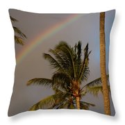 Palm Trees And Rainbow Throw Pillow