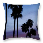 Palm Trees At Sunset Throw Pillow