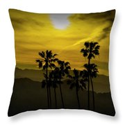 Palm Trees At Sunset With Mountains In California Throw Pillow