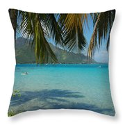 Palm Trees Cast A Shadow In Blue Water Throw Pillow