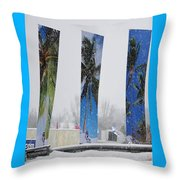 Palm Trees In Snowstorm Throw Pillow