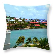 Palm Trees Of Oyster Bay Throw Pillow