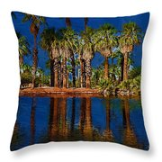 Palm Trees On The Water Throw Pillow