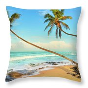Palm Trees Over The Sea Throw Pillow