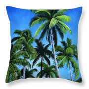 Palm Trees Under A Blue Sky Throw Pillow