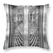 Palmer Hotels Peacock Door Throw Pillow