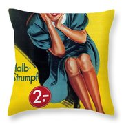 Palmers - Halb-strumpf - Vintage Germany Advertising Poster Throw Pillow