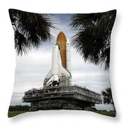 Palmetto Trees Frame Space Shuttle Throw Pillow by Stocktrek Images