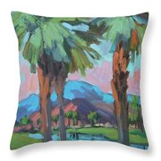 Palms And Coral Mountain Throw Pillow