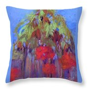 Palms And Flowers Throw Pillow