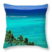 Palms And Ocean Throw Pillow