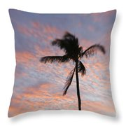Palms And Pink Clouds Throw Pillow