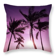 Palms And Pink Sunset Throw Pillow