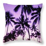 Palms And Purple Sky Throw Pillow