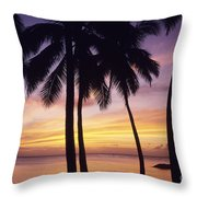 Palms And Sunset Sky Throw Pillow