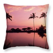 Palms At Still Lagoon Throw Pillow