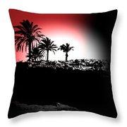Palms Black White Red Throw Pillow