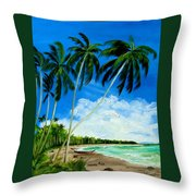 Palms By The Ocean Throw Pillow