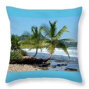 Palms On Ocean Throw Pillow