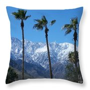 Palms With Snow Throw Pillow