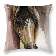 Palomino Arabian Horse Watercolor Portrait Throw Pillow