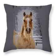 Palomino In The Snow Throw Pillow
