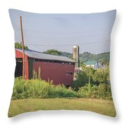 Palos Covered Bridge Throw Pillow