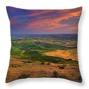 Palouse Skies Ablaze Throw Pillow