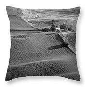 Palouse - Washington - Farms - 6 - Bw Throw Pillow