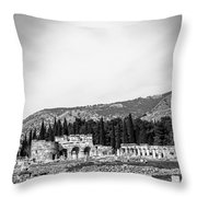 Paragliding Over The Ruins Of Pamukkale Throw Pillow